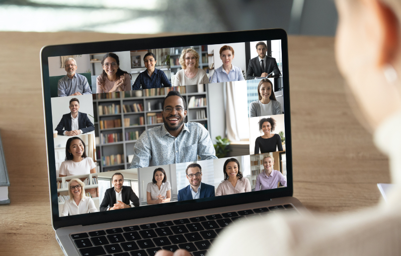 virtual meeting on a laptop
